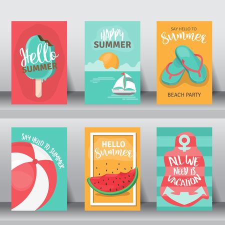 holiday vacation: Summer, holiday, vacation poster set. Flat design. Illustration
