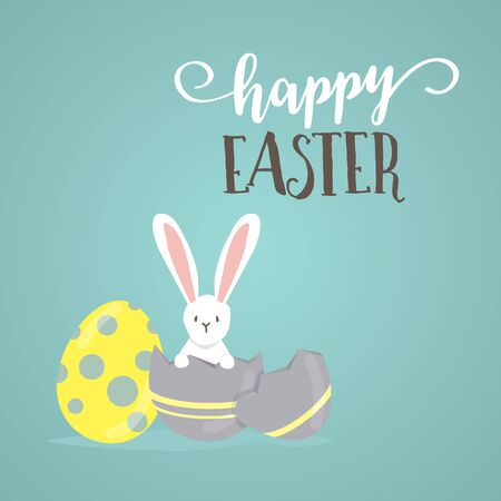 happy easter day, holiday colorful egges on  blue  background. can be use for sale advertisment, backdrop, greeting card and poster vector