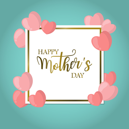 happy: Happy mother day, holiday pink flower on blue  background. can be use for sale advertisement, backdrop vector.