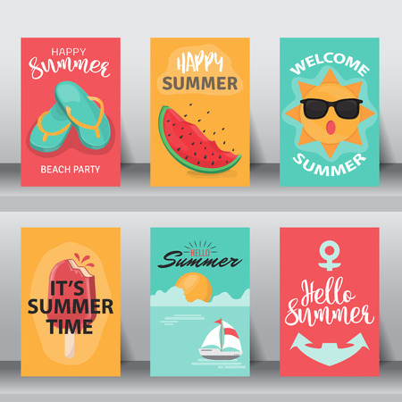 summer holiday: Summer, holiday, vacation poster set. flat design. can be use for greeting and invitation card. background , backdrop. layout template. vector illustration. Illustration