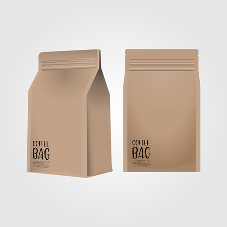 Realistic 3d blank paper coffee bag isolated on white background. Vector illustration