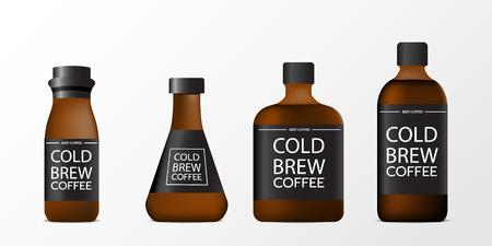 3d lege koude brouwen koffiefles realistische die reeks op witte achtergrond wordt geïsoleerd. Vector illustratie Stock Illustratie
