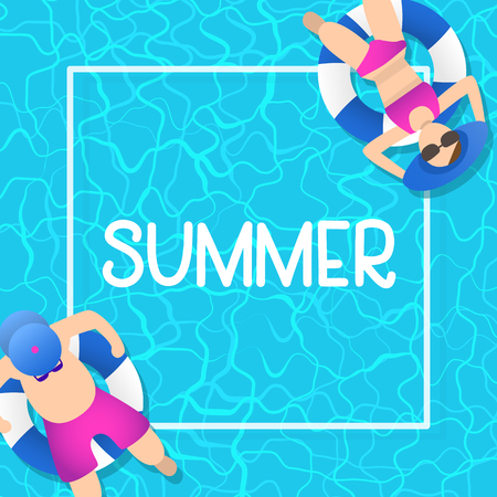 summer time background design with pool blue water and people playing ball. can be use for poster, background template. vector illustration