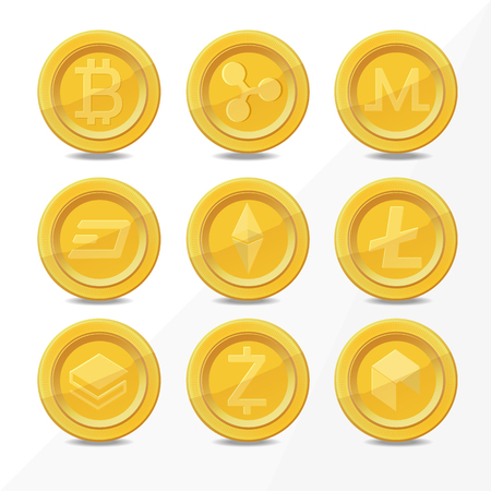 gold digital cryptocurrency coins, realistic coin icon isolated on white. vector