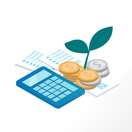 Business money saving plan concept, there are calculator, plant tree, money coins and bill receipt. vector illustration