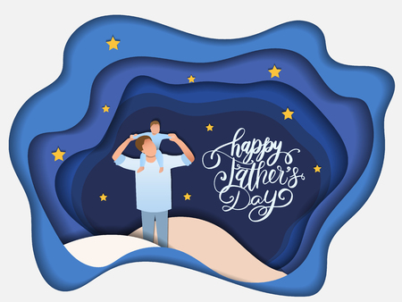 Son on his father shoulders on the night sky, happy international father's day concept, can be use for card, poster, website, brochure background. vector illustration