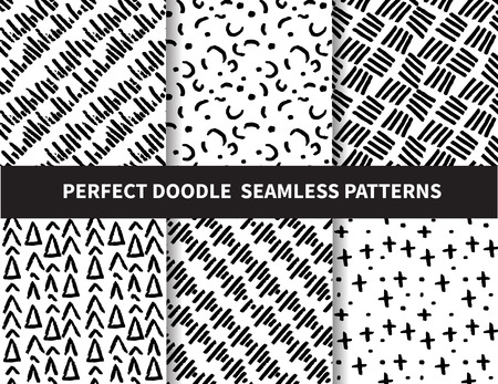 6 doodle seamless patterns. beautiful classic linear and dot style. Endless texture can be used for wallpaper, pattern fills, web page background,surface textures,tile, greeting card, scrapbook, backdrop