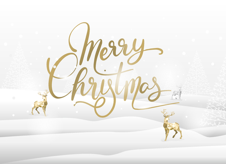 merry christmas greeting card, snowing and landscape concept. background, poster, web page. vector