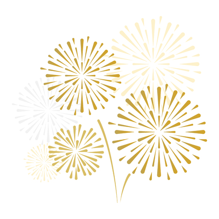 gold and bright firework on white background, can be use for celebration, party, and new year event. vector illustration