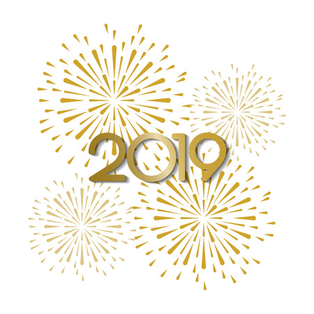 gold and bright 2019bfirework on white background, can be use for celebration, party, and new year event. vector illustration
