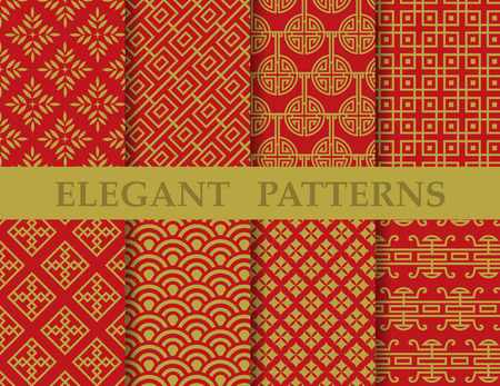 8 different elegant classic patterns. Endless texture can be used for wallpaper, pattern fills, web page background,surface textures,tile, greeting card, scrapbook, backdrop Çizim