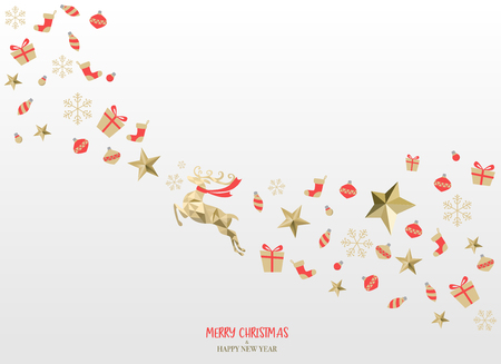 merry christmas minimal style greeting card, snowing and landscape concept. background, poster, web page. vector Çizim