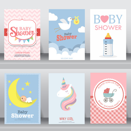 happy birthday, holiday, baby shower celebration greeting and invitation card. layout template in A4 size. vector illustration. text can be added Çizim