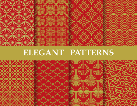 8 different elegant chinese classic patterns. Endless texture can be used for wallpaper, pattern fills, web page background,surface textures,tile, greeting card, scrapbook, backdrop Çizim