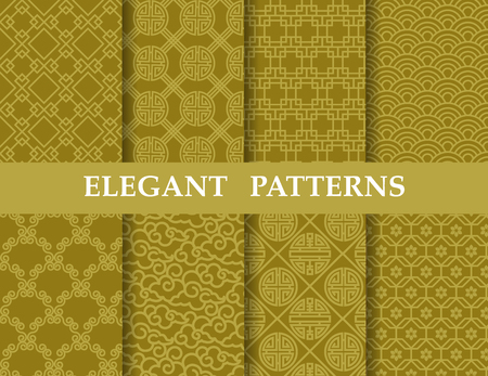 8 different elegant classic patterns. Endless texture can be used for wallpaper, pattern fills, web page background,surface textures,tile, greeting card, scrapbook, backdrop Ilustração