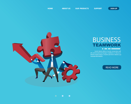 Human resource system, businessman with teamwork concept for business Solution and gold. isometric concept. vector illustration Çizim