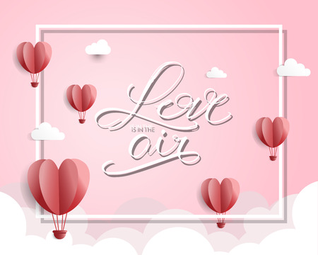 happy valentines day. love is in the air poster concept. can be use for greeting card, backdrop, postcard, vector illustration