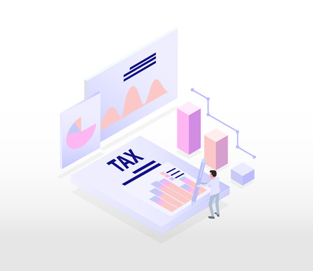 tax , account and financial isometric concept, graph and trend report background.  vector illustration