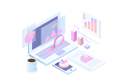 programming Web Development isometric concept, programmer working on table ,laptop and virtual website screens on white background.  vector illustration