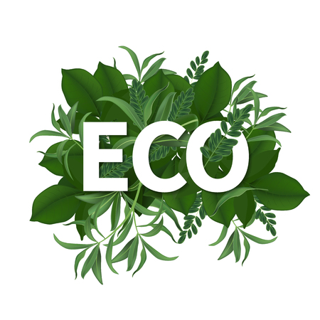 Go green day. ECO friendly Ecology concept. realistic tree leaves and simple green design Vector illustration. Illustration
