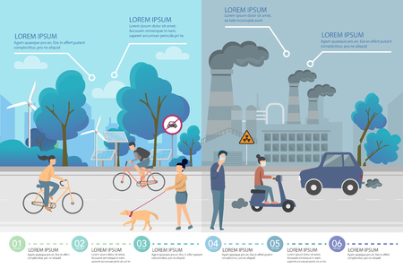Environment, ecology infographic elements. risks and pollution, ecosystem. Can be used for background, layout, banner, diagram, web design, brochure template. Vector illustration - Vector