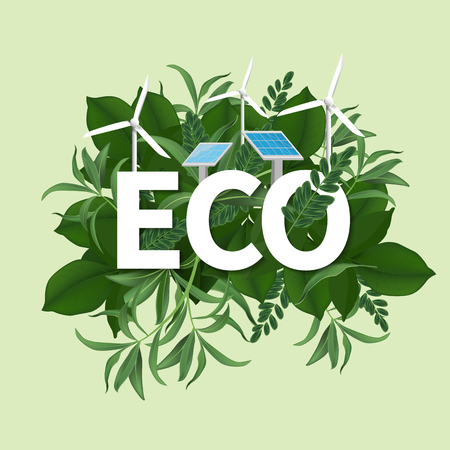 Go green day. ECO friendly Ecology concept. realistic tree leaves and simple green design Vector illustration. Ilustração