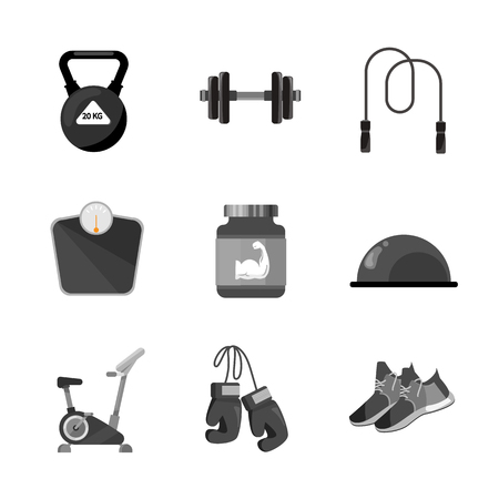 Different equipment for gym. Weight, dumbbells and other tools for powerlifting or bodybuilding. Fitness and sport. vector illustration