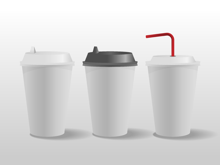 White paper cups, mock up coffee cup. vector illustration