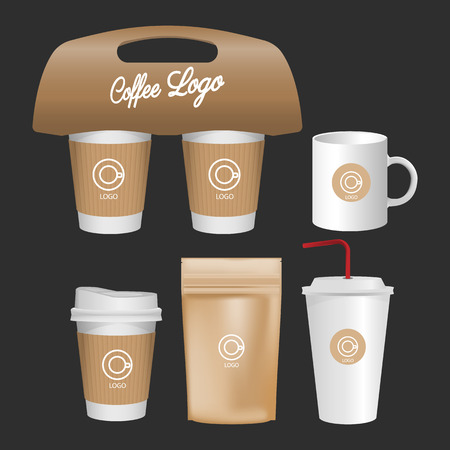 3d blank mug, coffee cup realistic set isolated on white background. Vector illustration
