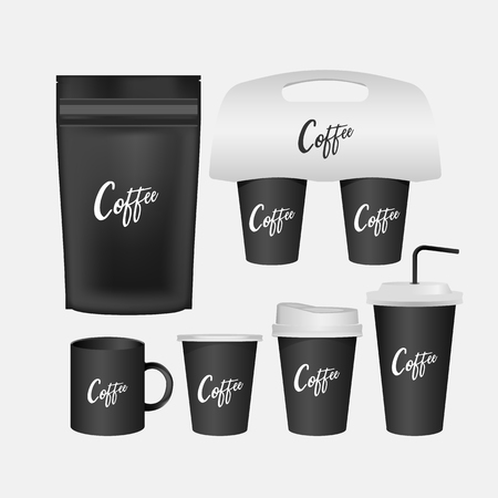 3d blank mug, coffee cup realistic set isolated. Vector illustration