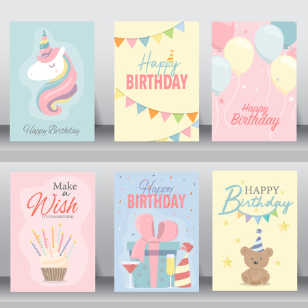 Happy birthday card. greeting and vitiation cards design baby concept. vector illustration Ilustração