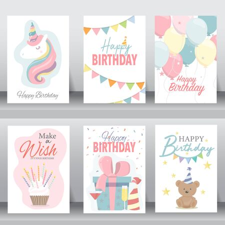 happy birthday, holiday, baby shower celebration greeting and invitation card. layout template in A4 size. vector illustration. text can be added Ilustração