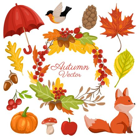 Autumn and fall season decorative elements collection with decorative wreath. vector illustration