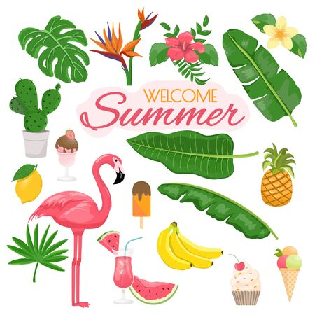 summer icons set, drinks, palm leaves, fruits and flamingo. Bright summertime poster. Collection of scrapbooking elements for beach party.