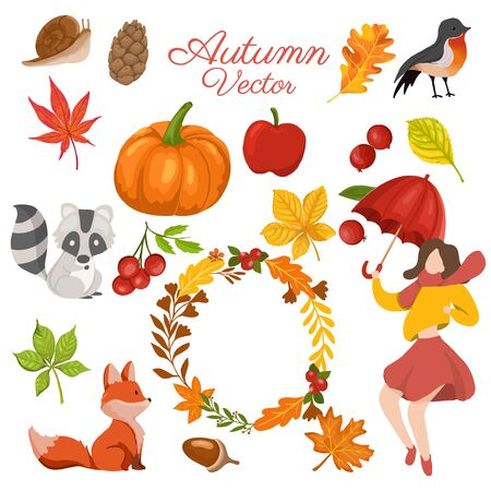 Autumn elements collection with decorative wreath. vector illustration