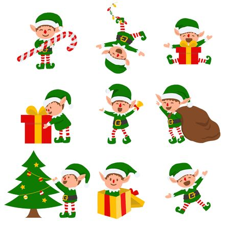 Collection of Christmas elves isolated on white background. funny and joyful santa helper sending holiday gift and decoration christmas tree .vector illustration.