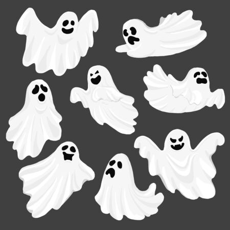 Whisper Ghost cartoon isolated on dark background. character Costume evil or Character creepy funny cute. Party celebrate Halloween night holiday. Set Vector Illustration. Illustration