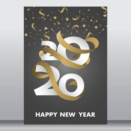 vector illustration of happy new year 2020 gold and black collors place for text christmas balls star champagne glass flayer brochure
