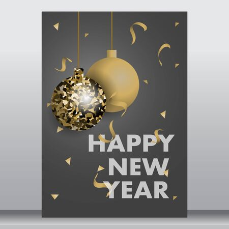 vector illustration of happy new year 2020 gold and black colors place for text christmas balls star champagne glass flayer brochure