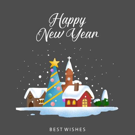 Greeting Christmas and New Year card. vector illustration