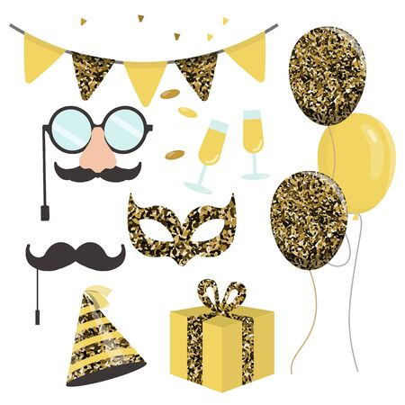 Celebration party carnival festive icons set for new year and birthday party. goldensymbols - hat, mask, gifts, balloon.