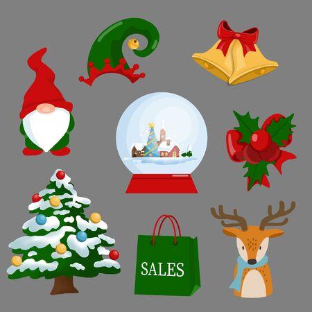 Christmas new year holiday decoration realistic icons set isolated vector illustration Illustration
