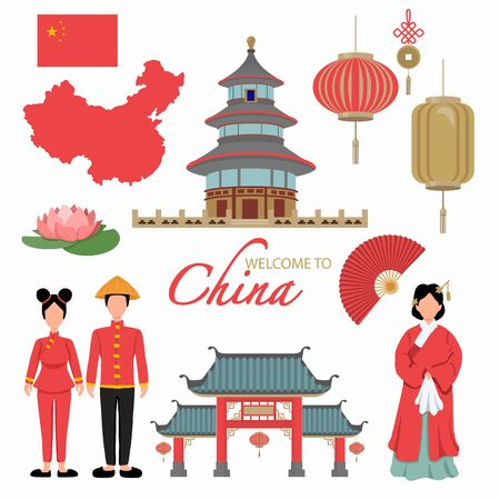 China Flat Icons Design Travel Concept. example Lion  and Dragon Dance, lantern, temple landmark, traditional foods. Vector illustration