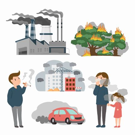 Air pollution in town source. example toxic from factory , Forest fires and people in the city.  PM 2.5 dust health danger, dirty environment, industrial outdoor fog. vector illustration Illustration
