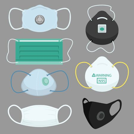 Facs Air pollution Mask, protective devices allergy for hospital Medical masks for prevent pm 2.5 dust and smog and infectious disease breath example SARS and CONVID 19. flat vector illustration design
