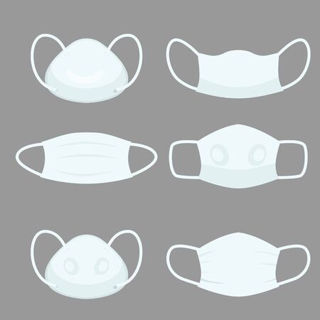 Facs Air pollution Mask, protective devices allergy for hospital Medical masks for prevent pm 2.5 dust and smog and  infectious disease breath example  SARS and CONVID 19.  flat vector illustration.