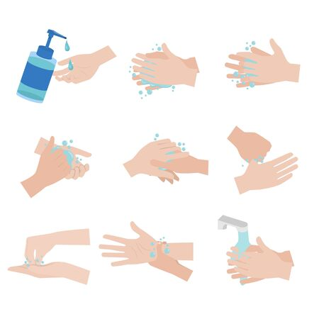 Hand hygiene prevention without E.coli, S.pyogenes, H1N1virus, covic19. steps by steps, washing your hand Far from the disease by yourself. Health care concept. vector illustration Illustration