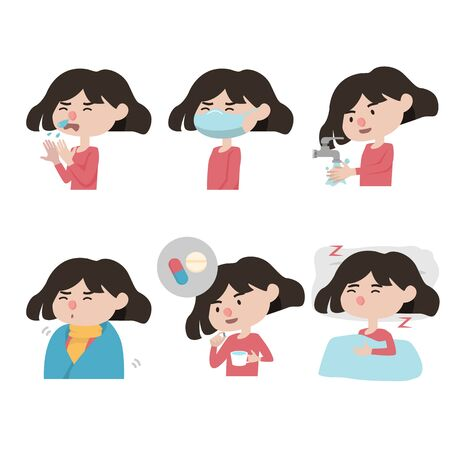 set of icon  diseases symptoms and how to take care off your self from fever illness people.  vector illustration. flat design isolated on white background.