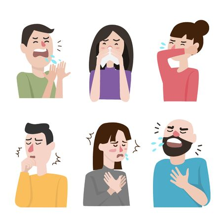 set of icon about cough and different diseases symptoms - fever, cough, snot, allergy and other people illness signs.   vector illustration. flat design isolated on white background. Illustration