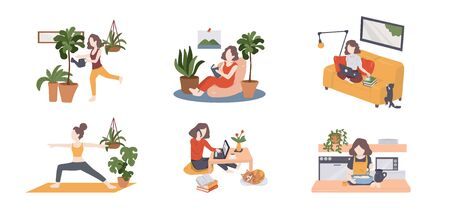 Quarantine, stay at home concept - people sitting at their home, room or apartment, practicing yoga, work or learn from home, enjoying meditation, relaxing on sofa, reading books, baking and spa yourself. vector illustration